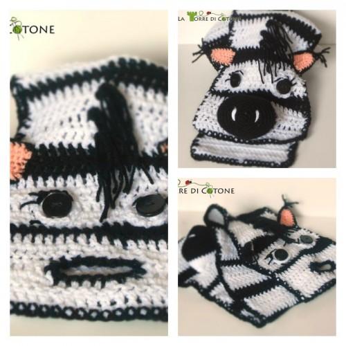 Schema gratis per realizzare una originalissima sciarpa all'uncinetto a forma di zebra