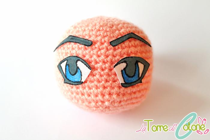 occhi per amigurumi in stile manga